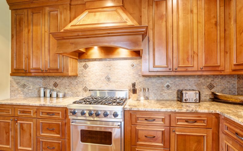 Kitchen with silver stove top