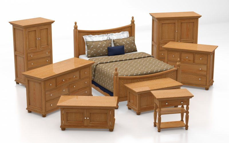 Bedroom set made of wood