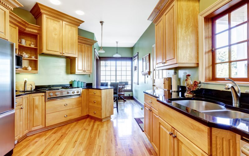 view of a kitchen with wood floors