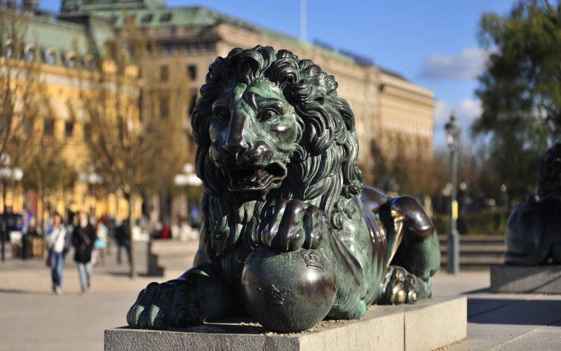 Lion statue outside.